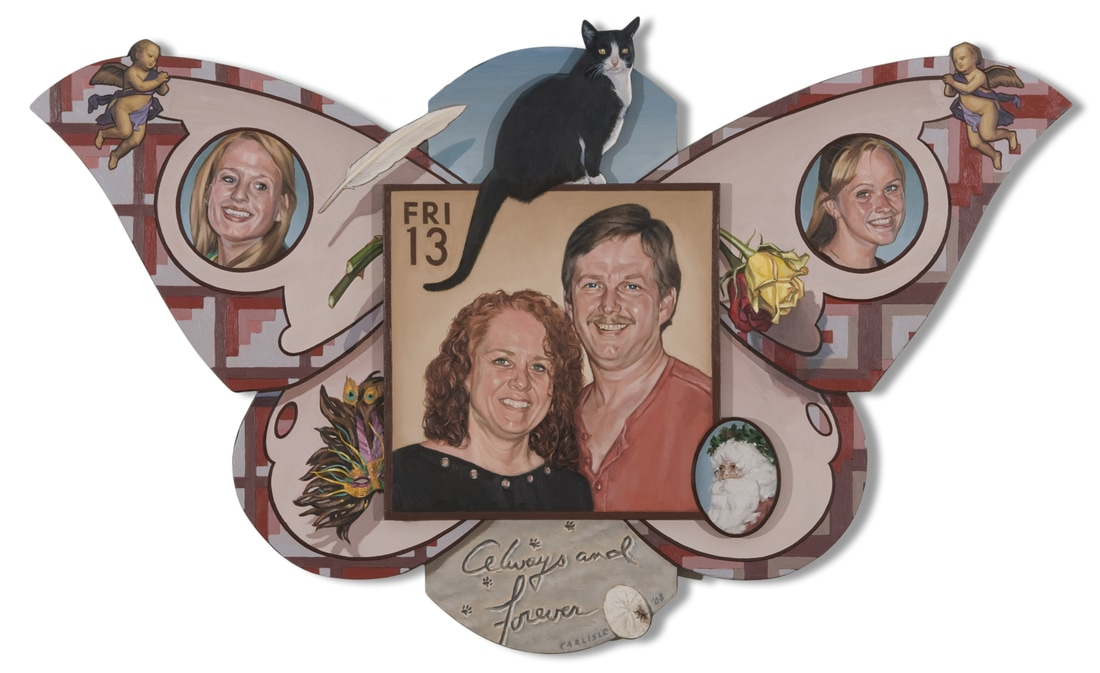 Family portrait (oils on cut-out wooden construction, 36