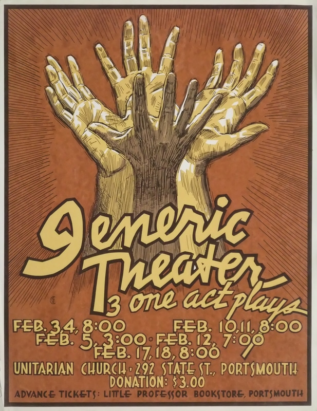 Silkscreen poster for Generic Theater, late '80's