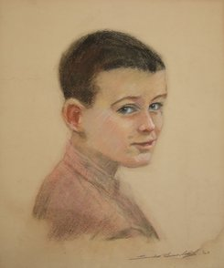 First self-portrait in pastels, 1963 (aged 12)