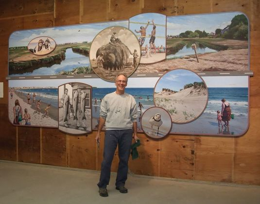 The Hampton Beach mural, prior to installation